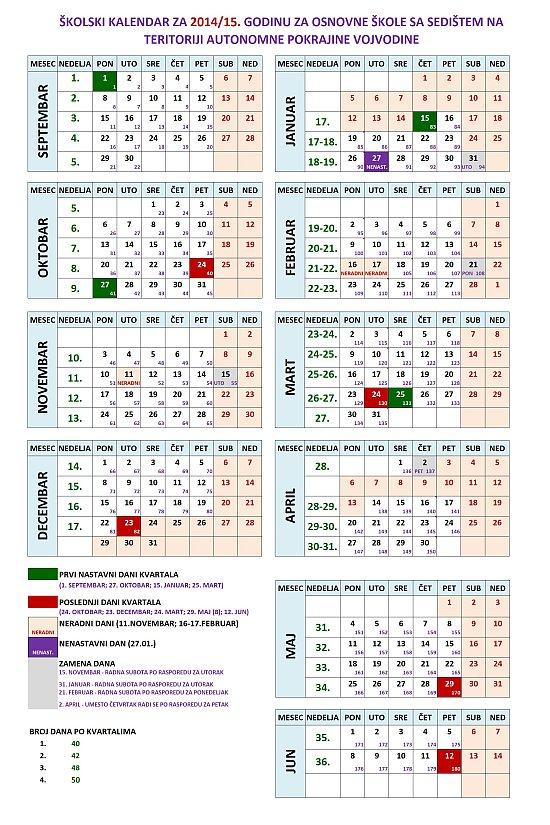 ŠKOLSKI KALENDAR ZA 2014/15. GODINU ZA OSNOVNE ŠKOLE SA SEDIŠTEM NA